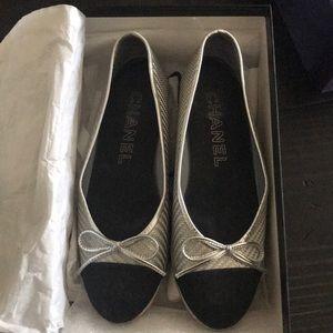 Chanel Silver Ballet Flats
